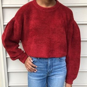 Free People Deep Red Cropped Sweater